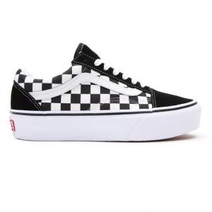 vans old skool platform checkerboard black true white