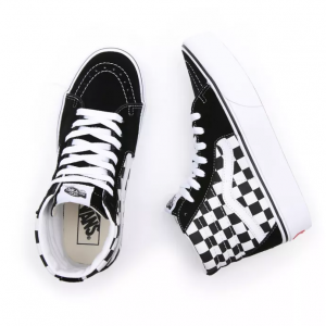 vans sk8-hi platform checkerboard black white